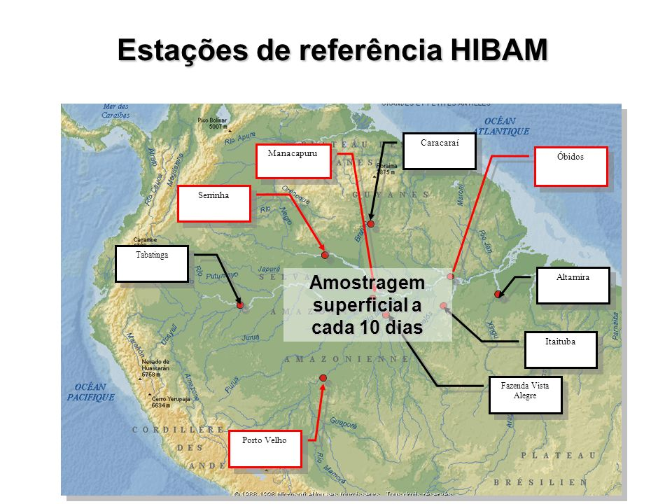 Estações de referência HIBAM Óbidos Fazenda Vista Alegre Manacapuru Porto Velho Tabatinga Serrinha Caracaraí Itaituba Altamira Amostragem superficial