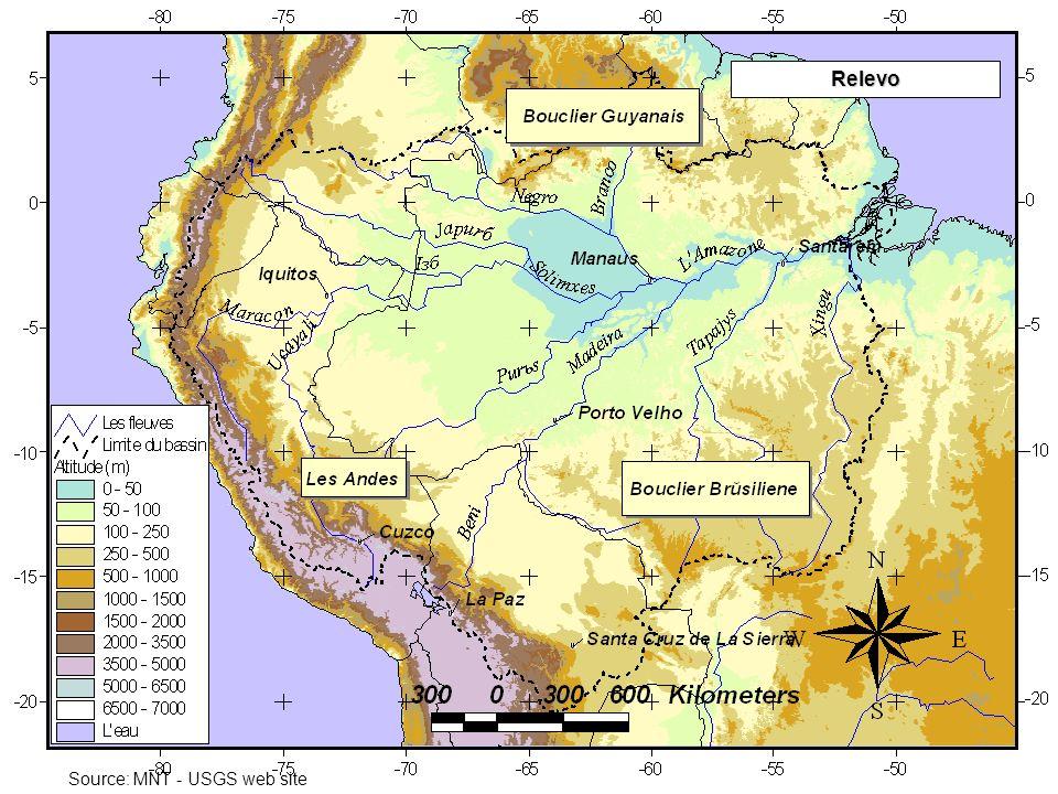 A partir de 3 fontes distintas de dados : Os resultados das três estimativas são da mesma ordem de grandeza dos valores anteriormente publicados, porém bem inferiores aos informados pelo projeto CAMREX Os resultados das três estimativas são da mesma ordem de grandeza dos valores anteriormente publicados, porém bem inferiores aos informados pelo projeto CAMREX O aporte de MES do Amazonas ao Oceano Atlântico (em Óbidos!) variou de 600 a 800 10 6 t.ano -1 O aporte de MES do Amazonas ao Oceano Atlântico (em Óbidos!) variou de 600 a 800 10 6 t.ano -1 Um fenômeno de estocagem de grande amplitude foi detectado na Amazônia Central: 200 10 6 t.ano -1 Um fenômeno de estocagem de grande amplitude foi detectado na Amazônia Central: 200 10 6 t.ano -1 Fluxo MES (10 6 t.ano -1 ) Redes Nacionais Campanhas HYBAM Estações Referência* Rio Solimões406447383 Rio Negro7812 Rio Madeira285371406 Rio Amazonas à Óbidos 536715609 Solimões + Negro + Madeira (Calc.) 699826801 Diferença (obs.