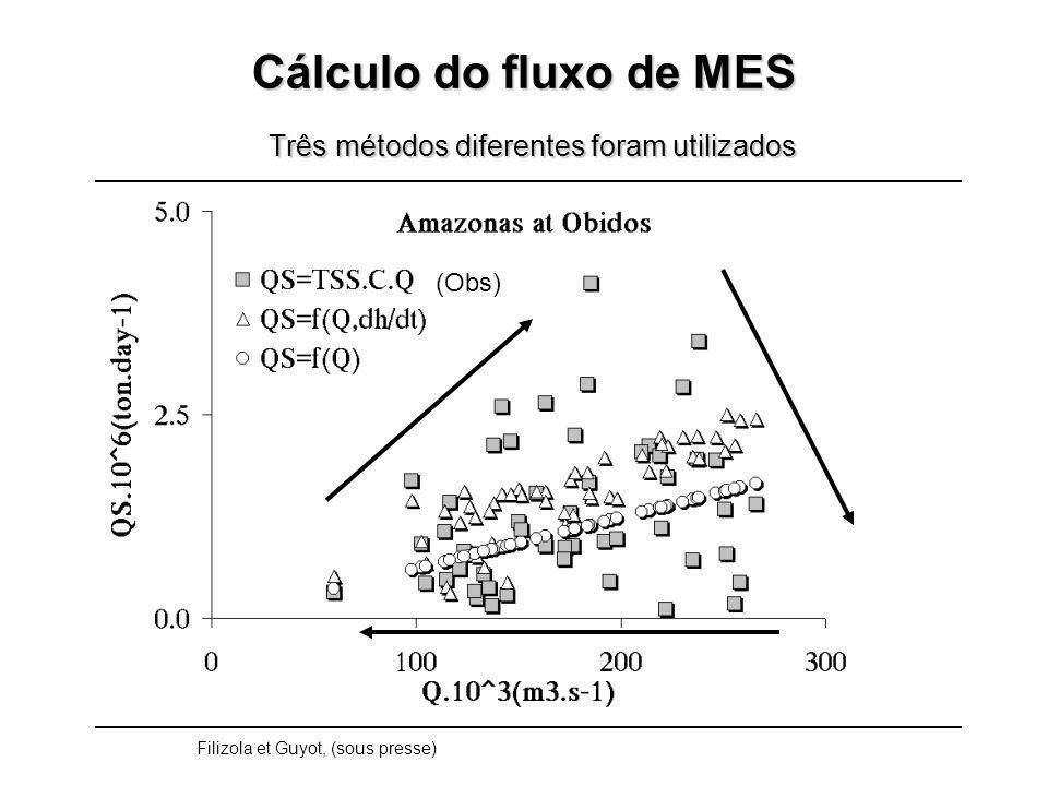 Três métodos diferentes foram utilizados Filizola et Guyot, (sous presse) (Obs) Cálculo do fluxo de MES