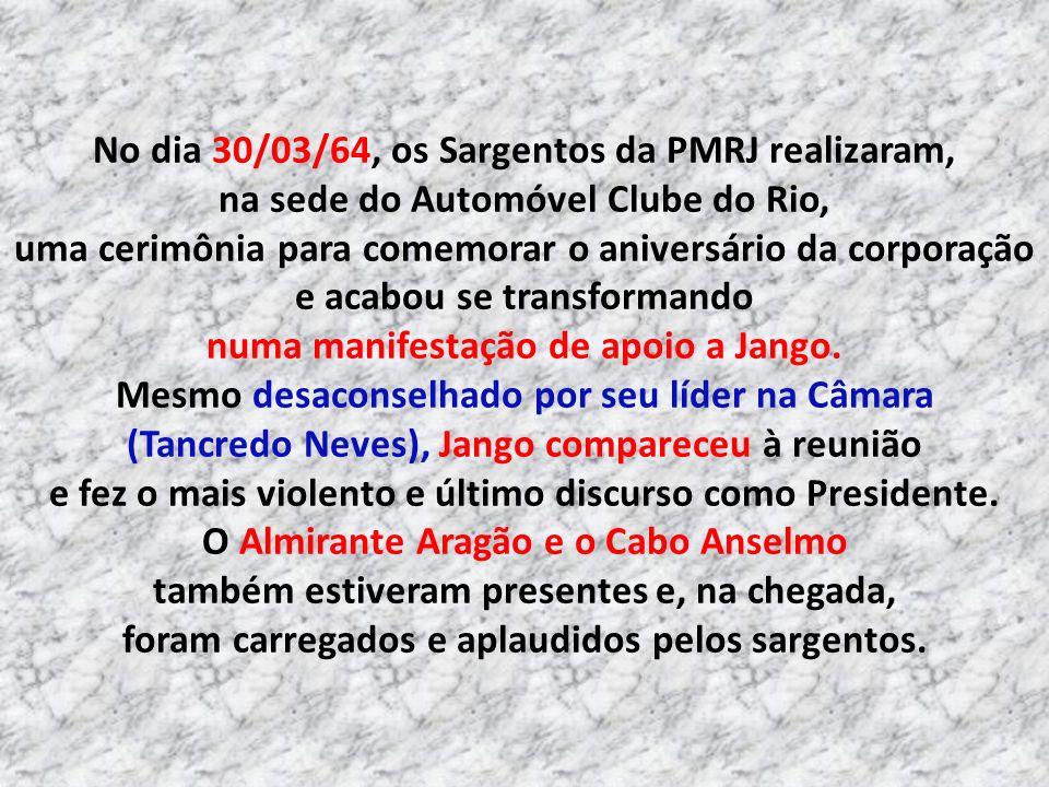 19/03 Marcha da Família com Deus pela Liberdade, pela queda do Jango No dia 19/03/64, em resposta ao comício da Central do Brasil, realizou-se uma man