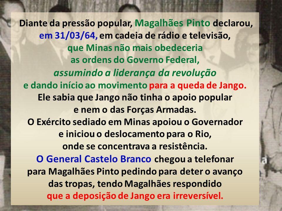 Os jornais O Globo, Jornal do Brasil e Correio da Manhã pregavam abertamente a queda de Jango. Basta consultar o noticiário da época. O golpe idealiza