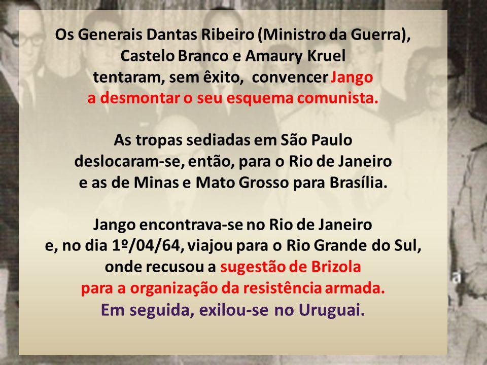 Diante da pressão popular, Magalhães Pinto declarou, em 31/03/64, em cadeia de rádio e televisão, que Minas não mais obedeceria as ordens do Governo F