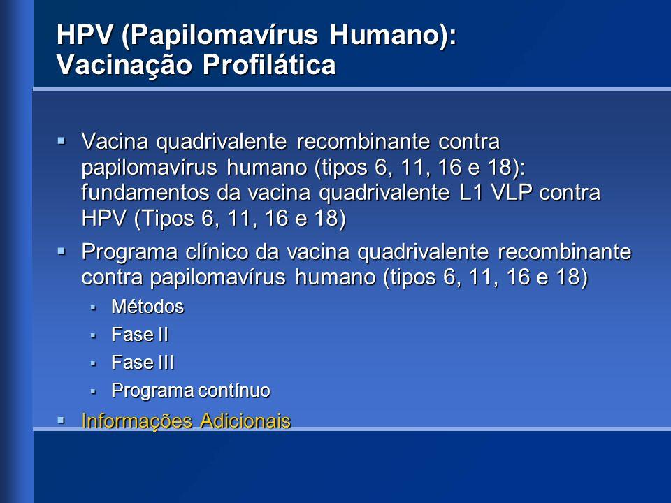 HPV (Papilomavírus Humano): Vacinação Profilática Vacina quadrivalente recombinante contra papilomavírus humano (tipos 6, 11, 16 e 18): fundamentos da
