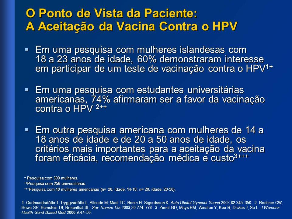 O Ponto de Vista da Paciente: A Aceitação da Vacina Contra o HPV Em uma pesquisa com mulheres islandesas com 18 a 23 anos de idade, 60% demonstraram i