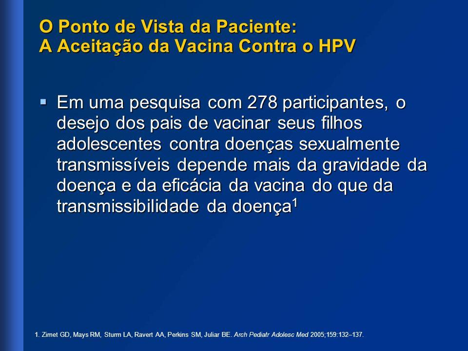 O Ponto de Vista da Paciente: A Aceitação da Vacina Contra o HPV Em uma pesquisa com 278 participantes, o desejo dos pais de vacinar seus filhos adole