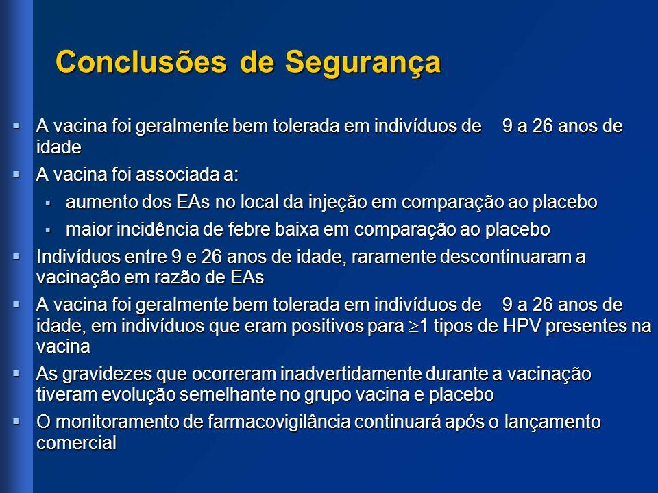 Conclusões de Segurança A vacina foi geralmente bem tolerada em indivíduos de 9 a 26 anos de idade A vacina foi geralmente bem tolerada em indivíduos
