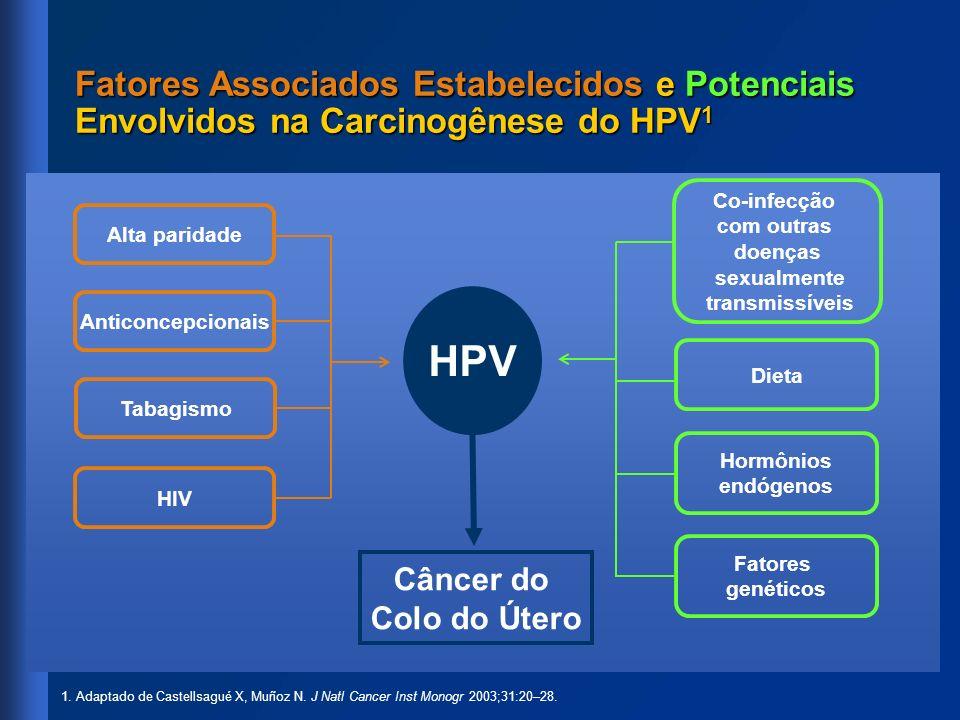 HPV Câncer do Colo do Útero Fatores Associados Estabelecidos e Potenciais Envolvidos na Carcinogênese do HPV 1 1. Adaptado de Castellsagué X, Muñoz N.