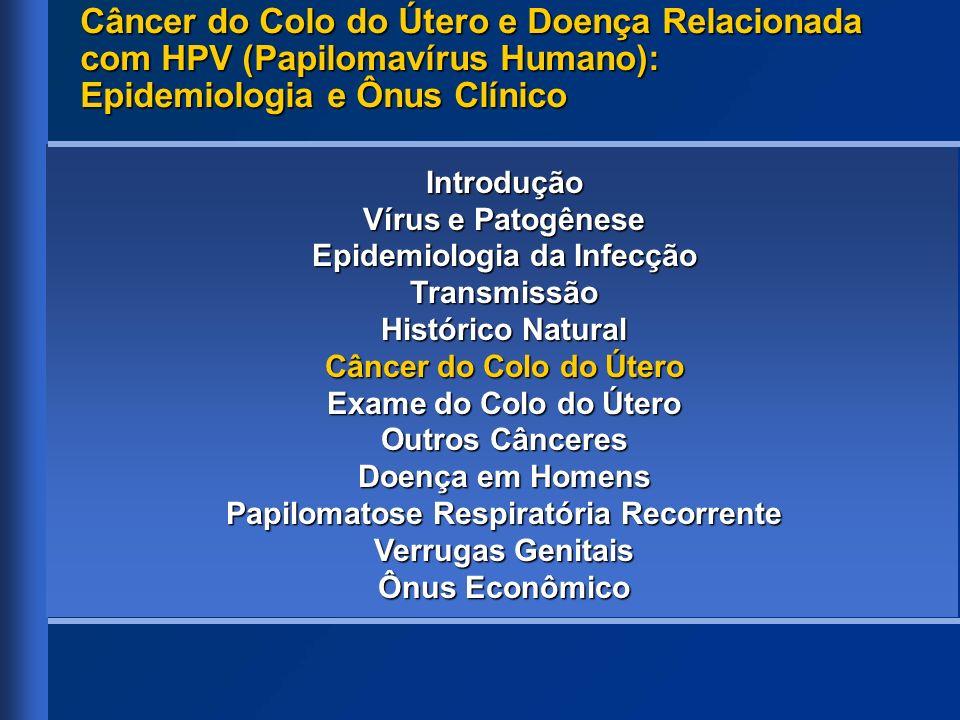 Introdução Vírus e Patogênese Epidemiologia da Infecção Transmissão Histórico Natural Câncer do Colo do Útero Exame do Colo do Útero Outros Cânceres D