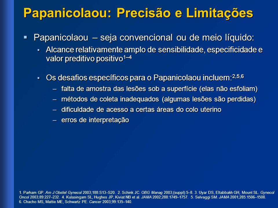Papanicolaou: Precisão e Limitações Papanicolaou – seja convencional ou de meio líquido: Papanicolaou – seja convencional ou de meio líquido: Alcance