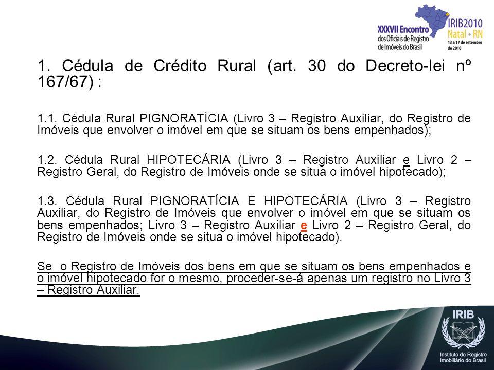 1. Cédula de Crédito Rural (art. 30 do Decreto-lei nº 167/67) : 1.1. Cédula Rural PIGNORATÍCIA (Livro 3 – Registro Auxiliar, do Registro de Imóveis qu