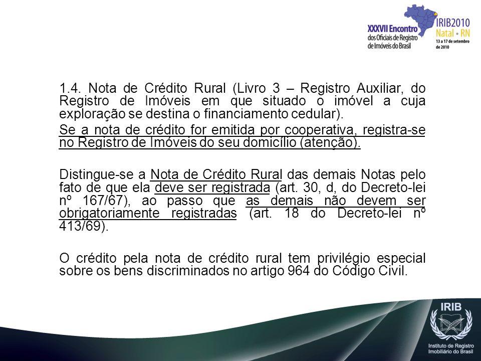 1.4. Nota de Crédito Rural (Livro 3 – Registro Auxiliar, do Registro de Imóveis em que situado o imóvel a cuja exploração se destina o financiamento c
