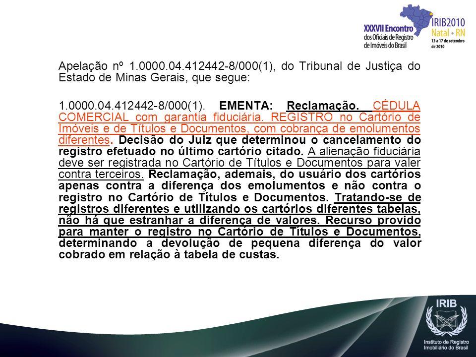 Apelação nº 1.0000.04.412442-8/000(1), do Tribunal de Justiça do Estado de Minas Gerais, que segue: 1.0000.04.412442-8/000(1). EMENTA: Reclamação. CÉD