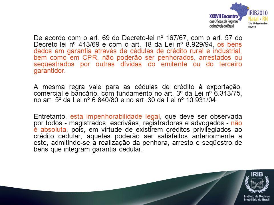 De acordo com o art. 69 do Decreto-lei nº 167/67, com o art. 57 do Decreto-lei nº 413/69 e com o art. 18 da Lei nº 8.929/94, os bens dados em garantia