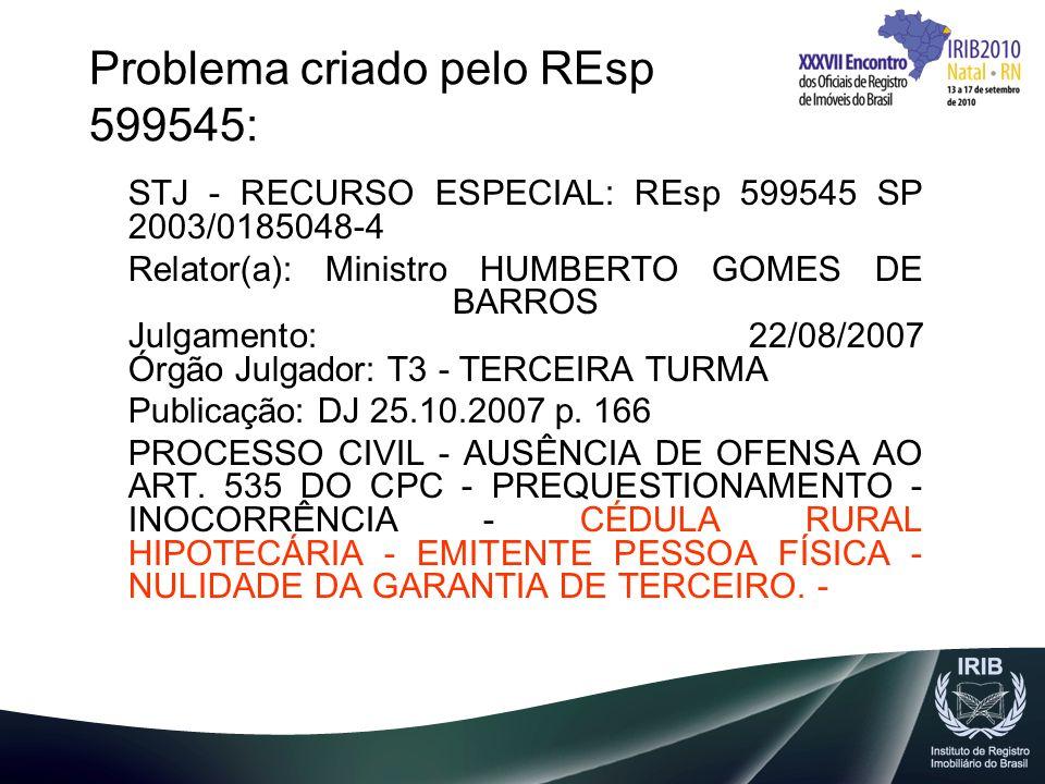 Problema criado pelo REsp 599545: STJ - RECURSO ESPECIAL: REsp 599545 SP 2003/0185048-4 Relator(a): Ministro HUMBERTO GOMES DE BARROS Julgamento: 22/0