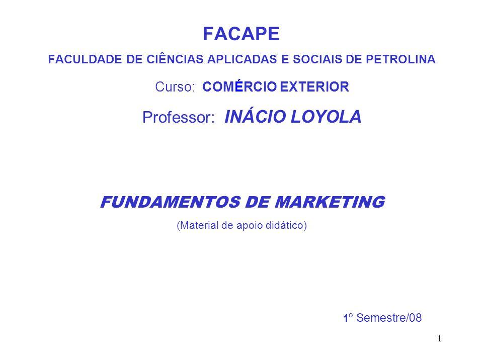 1 FACAPE FACULDADE DE CIÊNCIAS APLICADAS E SOCIAIS DE PETROLINA Curso: COMÉRCIO EXTERIOR Professor: INÁCIO LOYOLA FUNDAMENTOS DE MARKETING (Material d