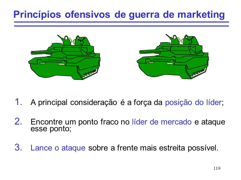 119 Princípios ofensivos de guerra de marketing 1. A principal consideração é a força da posição do líder; 2. Encontre um ponto fraco no líder de merc