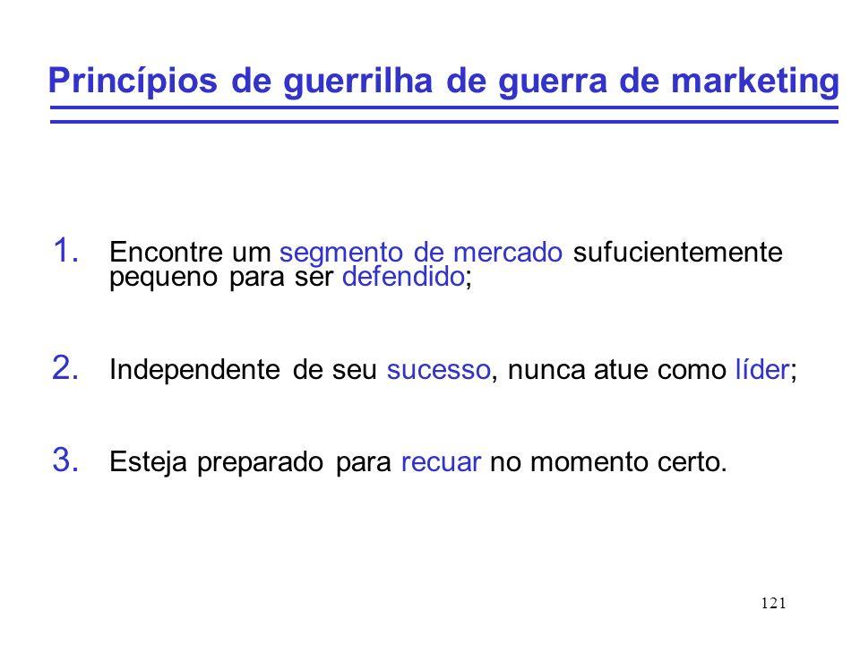 121 Princípios de guerrilha de guerra de marketing 1. Encontre um segmento de mercado sufucientemente pequeno para ser defendido; 2. Independente de s