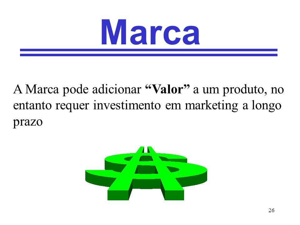 26 Marca A Marca pode adicionar Valor a um produto, no entanto requer investimento em marketing a longo prazo