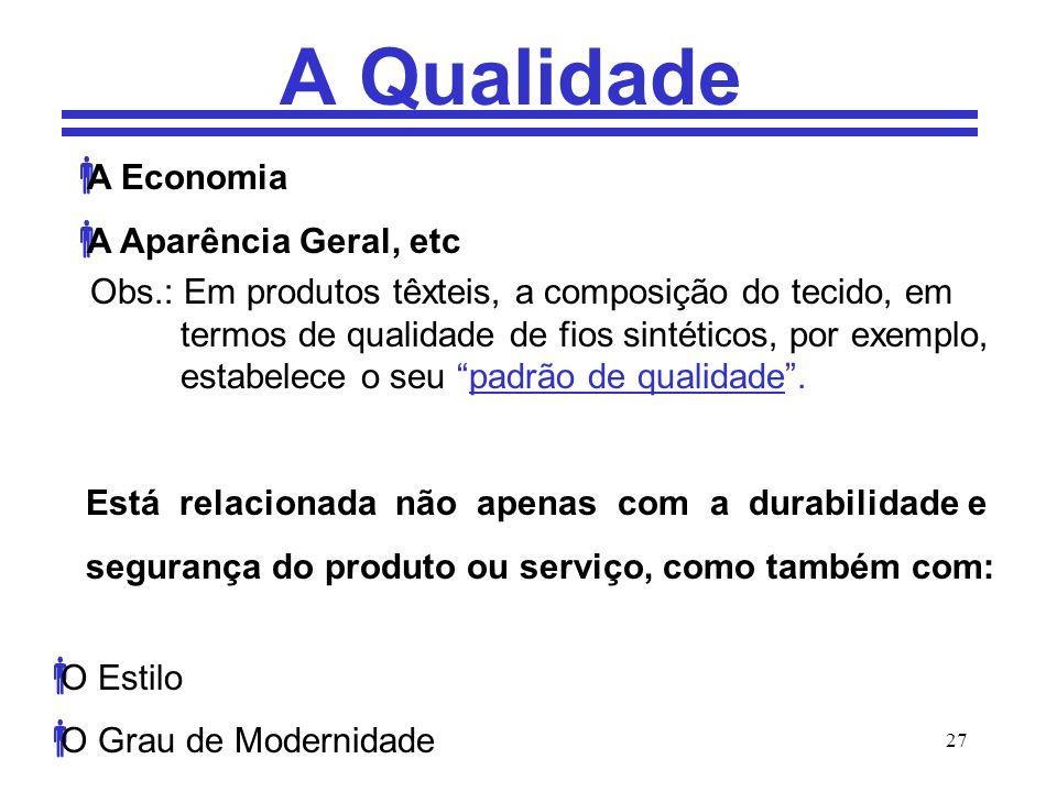 27 A Qualidade A Economia A Aparência Geral, etc Obs.: Em produtos têxteis, a composição do tecido, em termos de qualidade de fios sintéticos, por exe