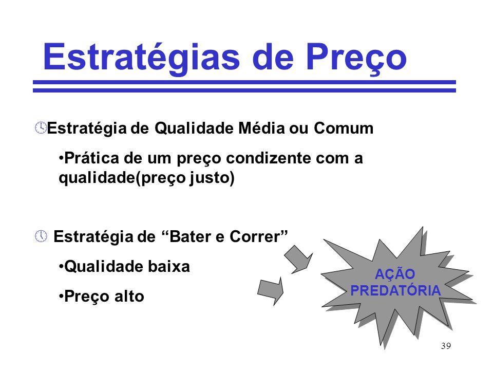 39 Estratégias de Preço º Estratégia de Qualidade Média ou Comum Prática de um preço condizente com a qualidade(preço justo) » Estratégia de Bater e C