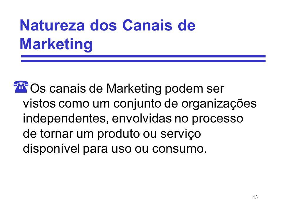 43 Natureza dos Canais de Marketing ( Os canais de Marketing podem ser vistos como um conjunto de organizações independentes, envolvidas no processo d