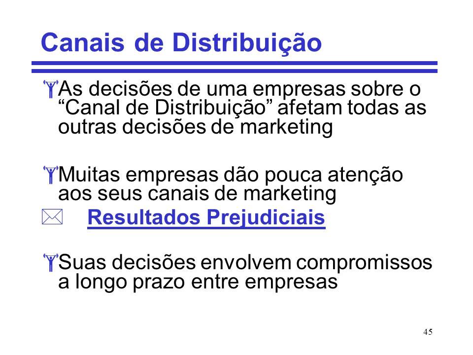45 Canais de Distribuição As decisões de uma empresas sobre o Canal de Distribuição afetam todas as outras decisões de marketing Muitas empresas dão p