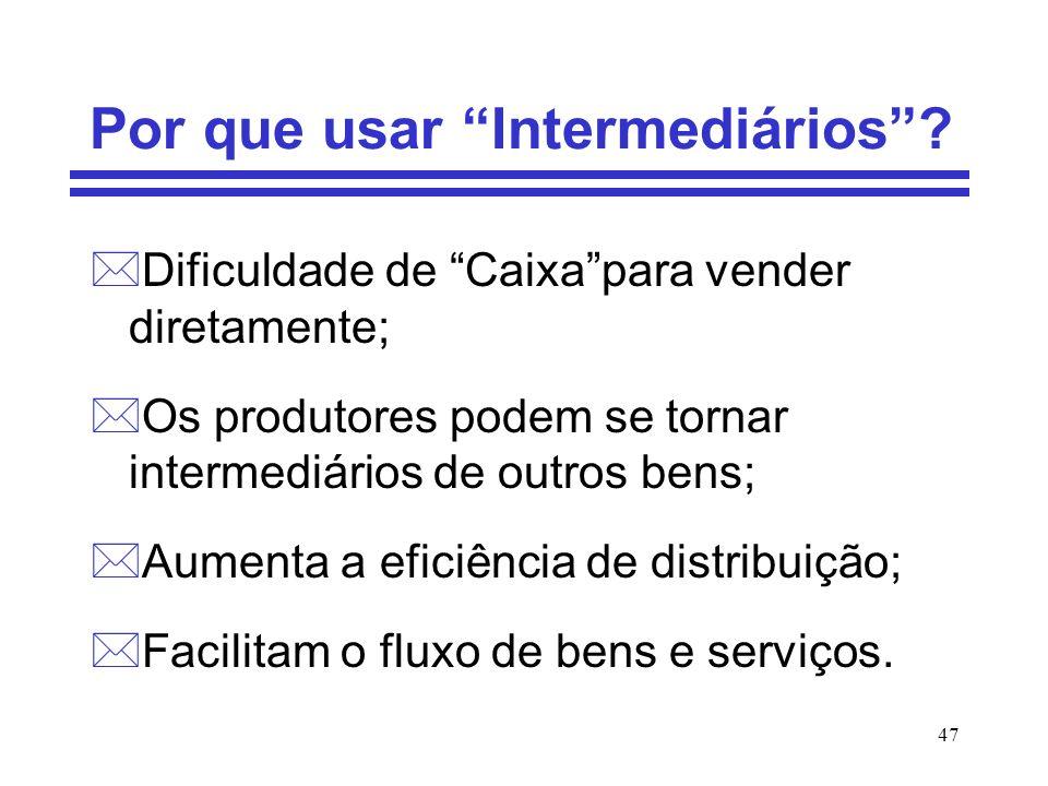 47 Por que usar Intermediários? *Dificuldade de Caixapara vender diretamente; *Os produtores podem se tornar intermediários de outros bens; *Aumenta a