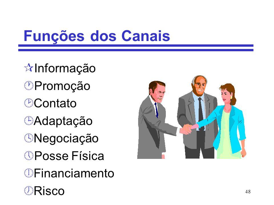 48 Funções dos Canais ¶Informação ·Promoção ¸Contato ¹Adaptação ºNegociação »Posse Física ¼Financiamento ½Risco