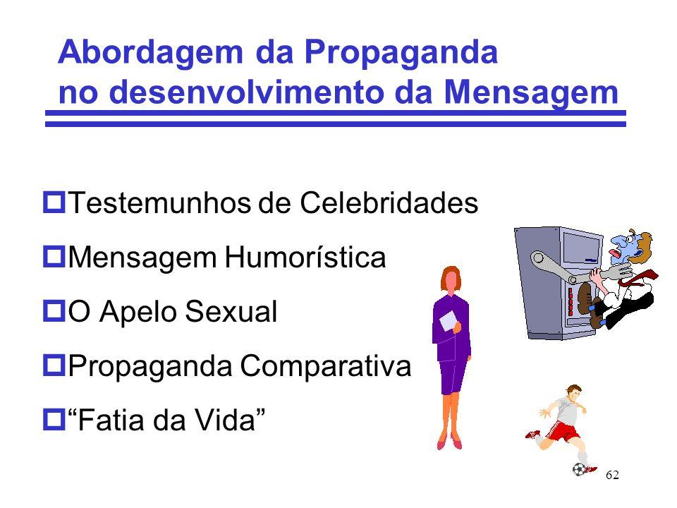 62 Abordagem da Propaganda no desenvolvimento da Mensagem pTestemunhos de Celebridades pMensagem Humorística pO Apelo Sexual pPropaganda Comparativa p