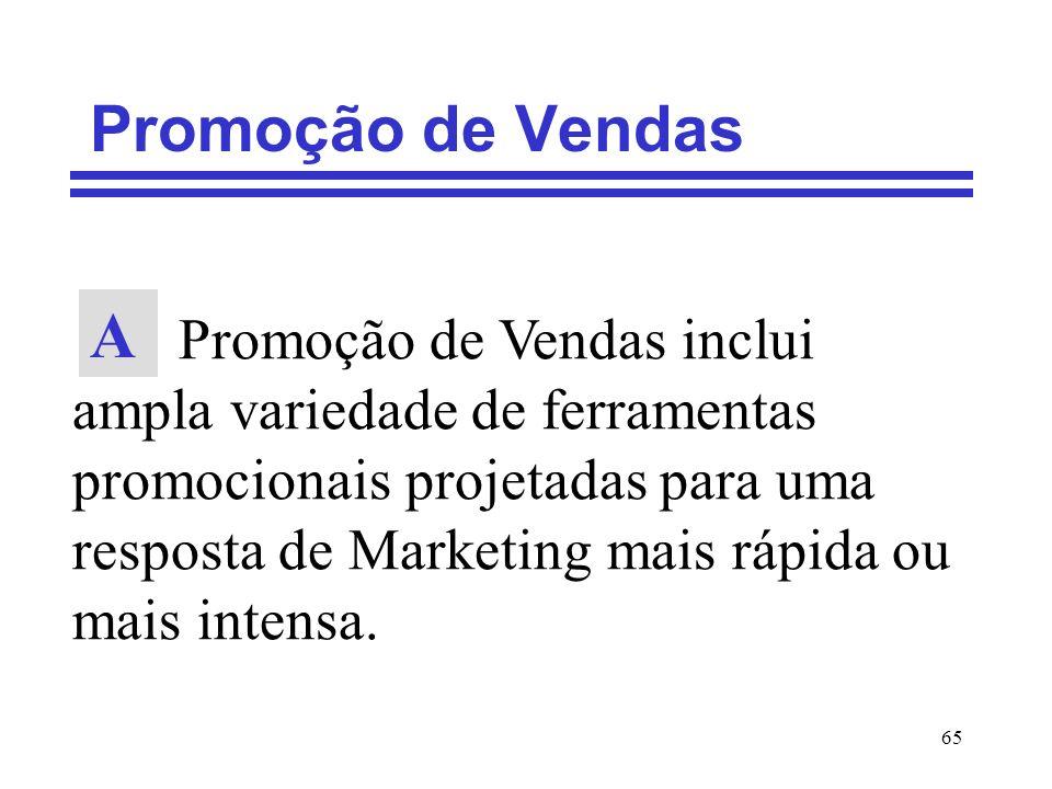 65 Promoção de Vendas Promoção de Vendas inclui ampla variedade de ferramentas promocionais projetadas para uma resposta de Marketing mais rápida ou m