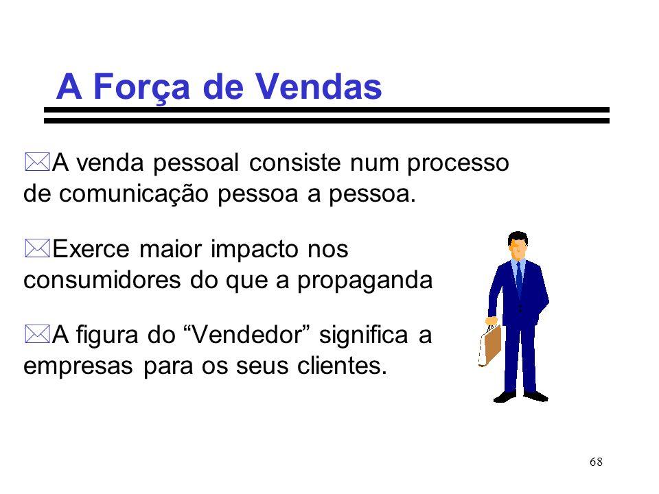 68 A Força de Vendas *A venda pessoal consiste num processo de comunicação pessoa a pessoa. *Exerce maior impacto nos consumidores do que a propaganda