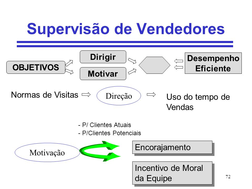 72 Supervisão de Vendedores OBJETIVOS Motivar Dirigir Desempenho Eficiente Normas de Visitas Direção Uso do tempo de Vendas - P/ Clientes Atuais - P/C