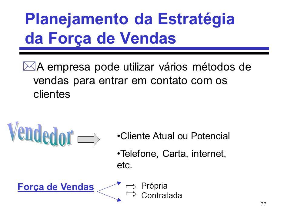 77 Planejamento da Estratégia da Força de Vendas * A empresa pode utilizar vários métodos de vendas para entrar em contato com os clientes Cliente Atu