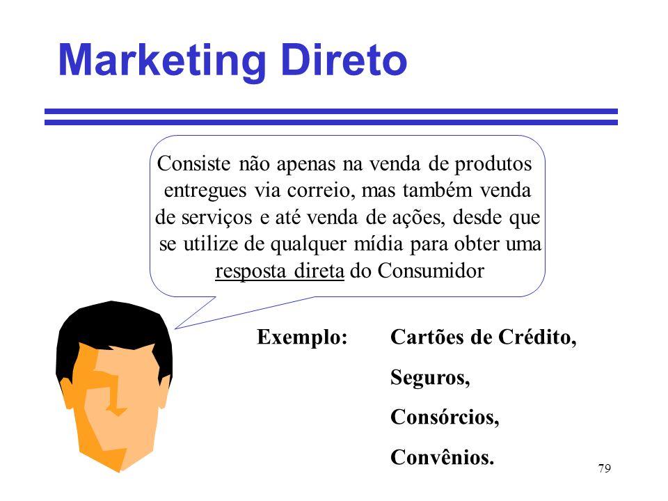 79 Marketing Direto Consiste não apenas na venda de produtos entregues via correio, mas também venda de serviços e até venda de ações, desde que se ut
