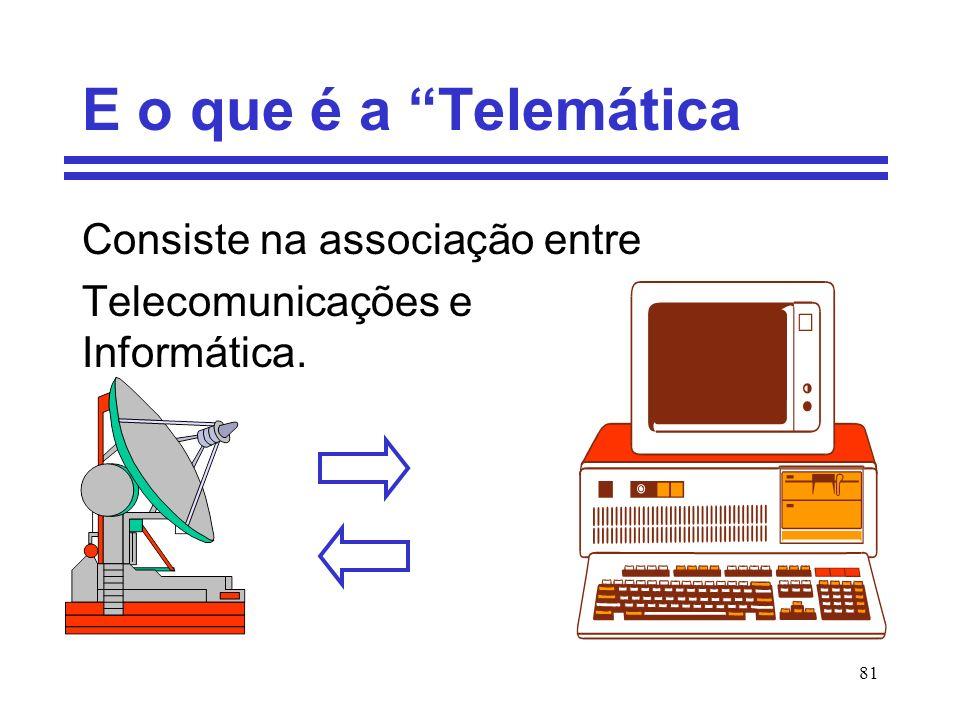 81 E o que é a Telemática Consiste na associação entre Telecomunicações e Informática.