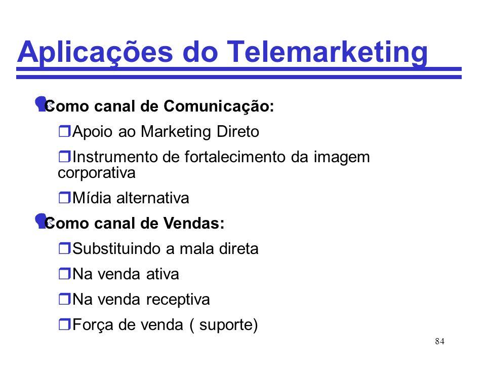 84 Aplicações do Telemarketing Como canal de Comunicação: rApoio ao Marketing Direto rInstrumento de fortalecimento da imagem corporativa rMídia alter
