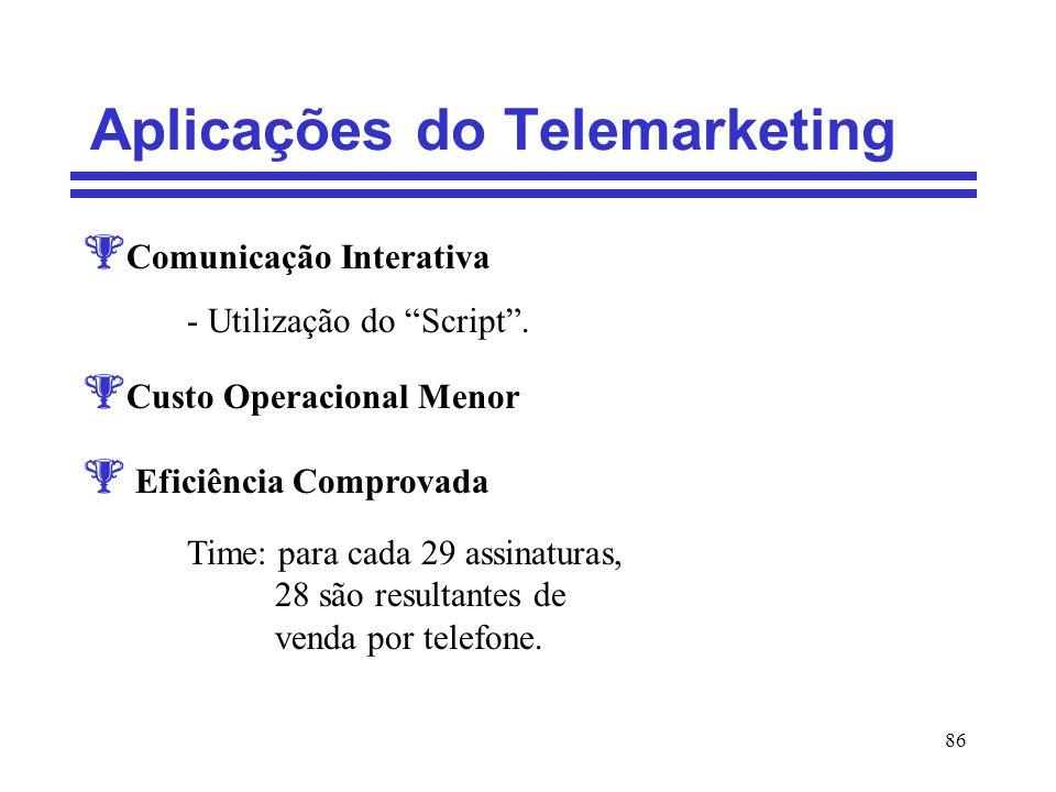 86 Aplicações do Telemarketing Comunicação Interativa - Utilização do Script. Custo Operacional Menor Eficiência Comprovada Time: para cada 29 assinat