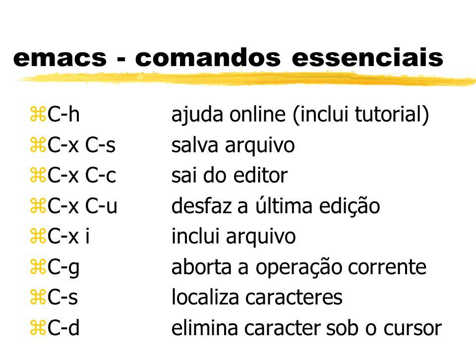 emacs - comandos essenciais zC-hajuda online (inclui tutorial) zC-x C-ssalva arquivo zC-x C-csai do editor zC-x C-udesfaz a última edição zC-x iinclui