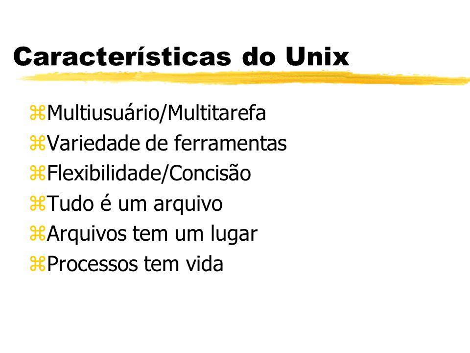 Características do Unix zMultiusuário/Multitarefa zVariedade de ferramentas zFlexibilidade/Concisão zTudo é um arquivo zArquivos tem um lugar zProcess