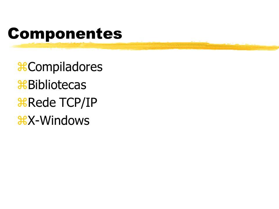 Componentes zCompiladores zBibliotecas zRede TCP/IP zX-Windows