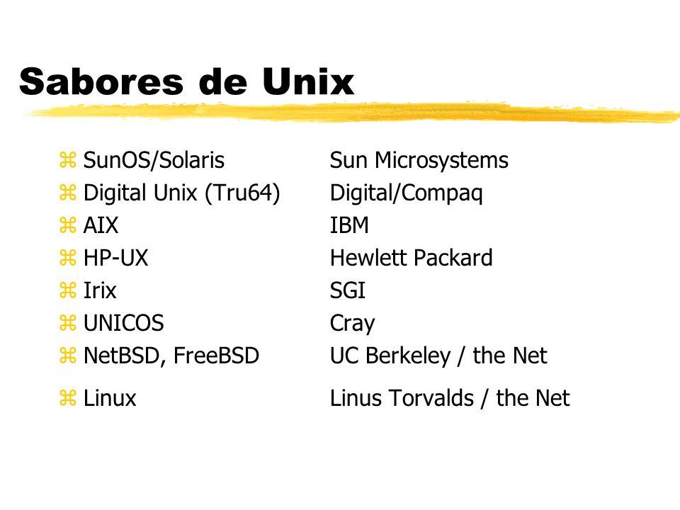 Sabores de Unix zSunOS/SolarisSun Microsystems zDigital Unix (Tru64)Digital/Compaq zAIXIBM zHP-UX Hewlett Packard zIrix SGI zUNICOS Cray zNetBSD, Free