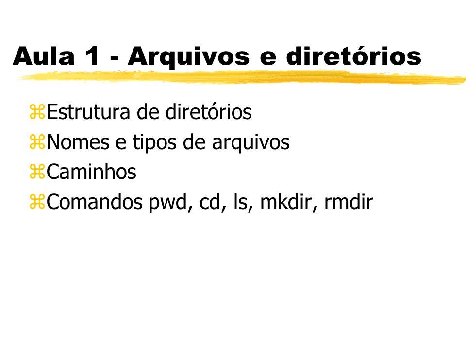 Aula 1 - Arquivos e diretórios zEstrutura de diretórios zNomes e tipos de arquivos zCaminhos zComandos pwd, cd, ls, mkdir, rmdir