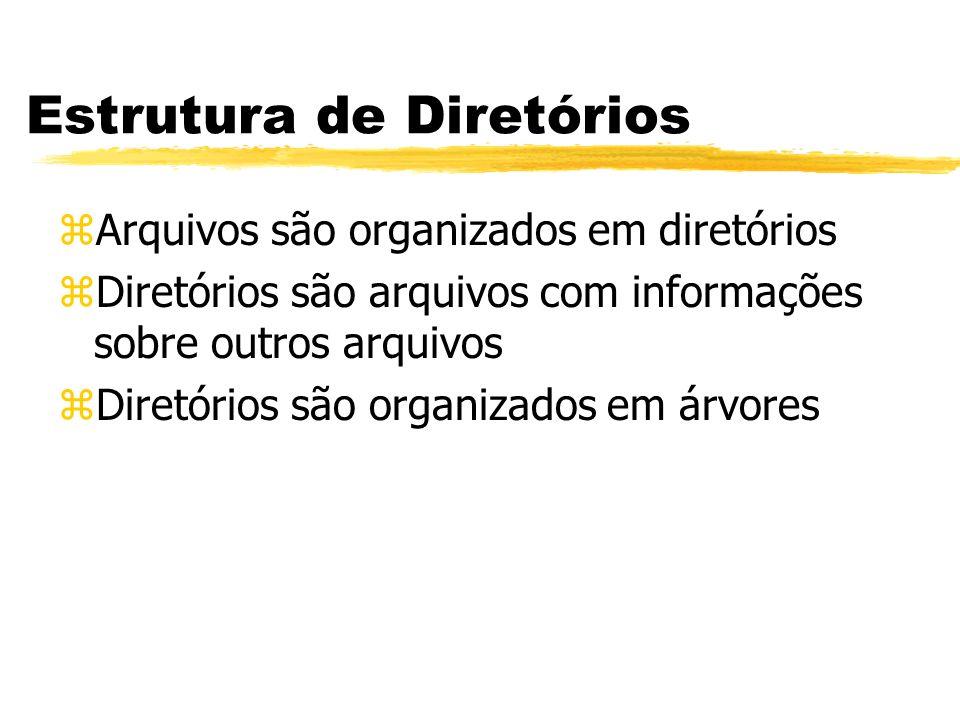 Estrutura de Diretórios zArquivos são organizados em diretórios zDiretórios são arquivos com informações sobre outros arquivos zDiretórios são organiz