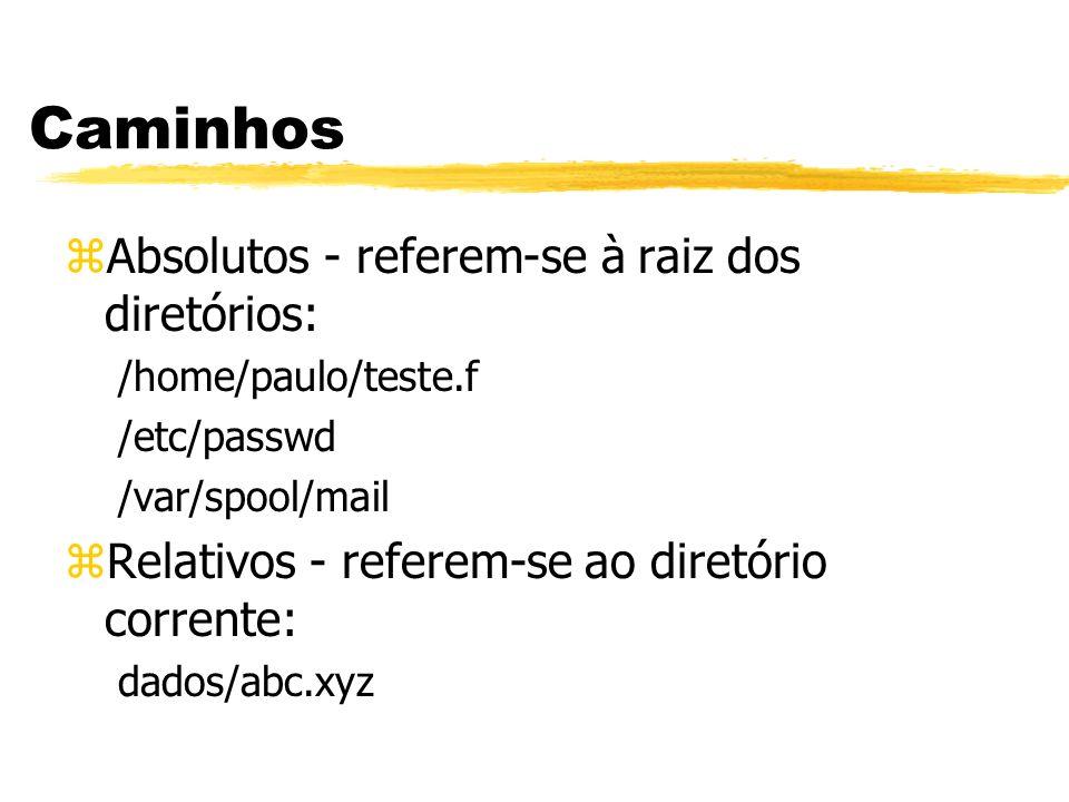 Caminhos zAbsolutos - referem-se à raiz dos diretórios: /home/paulo/teste.f /etc/passwd /var/spool/mail zRelativos - referem-se ao diretório corrente: