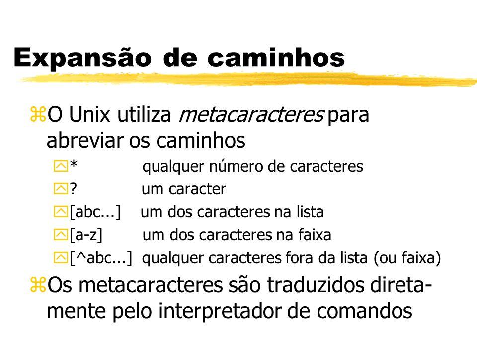Expansão de caminhos zO Unix utiliza metacaracteres para abreviar os caminhos y* qualquer número de caracteres y? um caracter y[abc...] um dos caracte