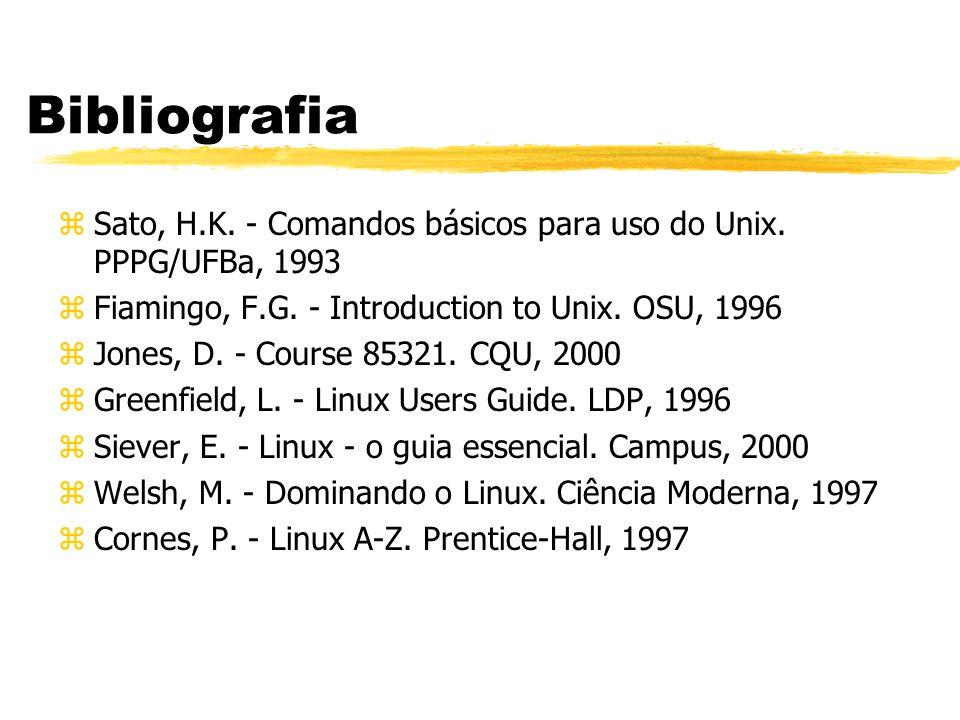 Caminhos zAbsolutos - referem-se à raiz dos diretórios: /home/paulo/teste.f /etc/passwd /var/spool/mail zRelativos - referem-se ao diretório corrente: dados/abc.xyz