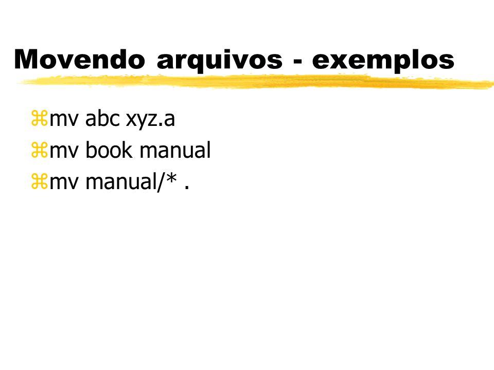 Movendo arquivos - exemplos zmv abc xyz.a zmv book manual zmv manual/*.