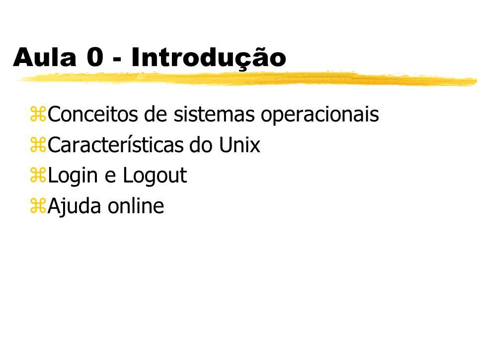 Aula 0 - Introdução zConceitos de sistemas operacionais zCaracterísticas do Unix zLogin e Logout zAjuda online
