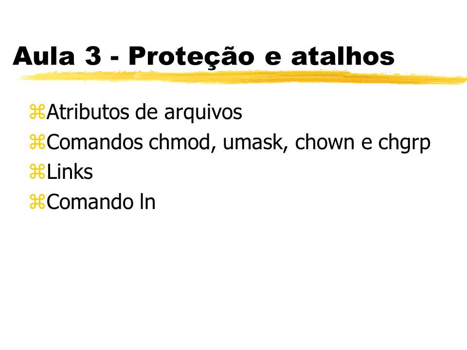 Aula 3 - Proteção e atalhos zAtributos de arquivos zComandos chmod, umask, chown e chgrp zLinks zComando ln