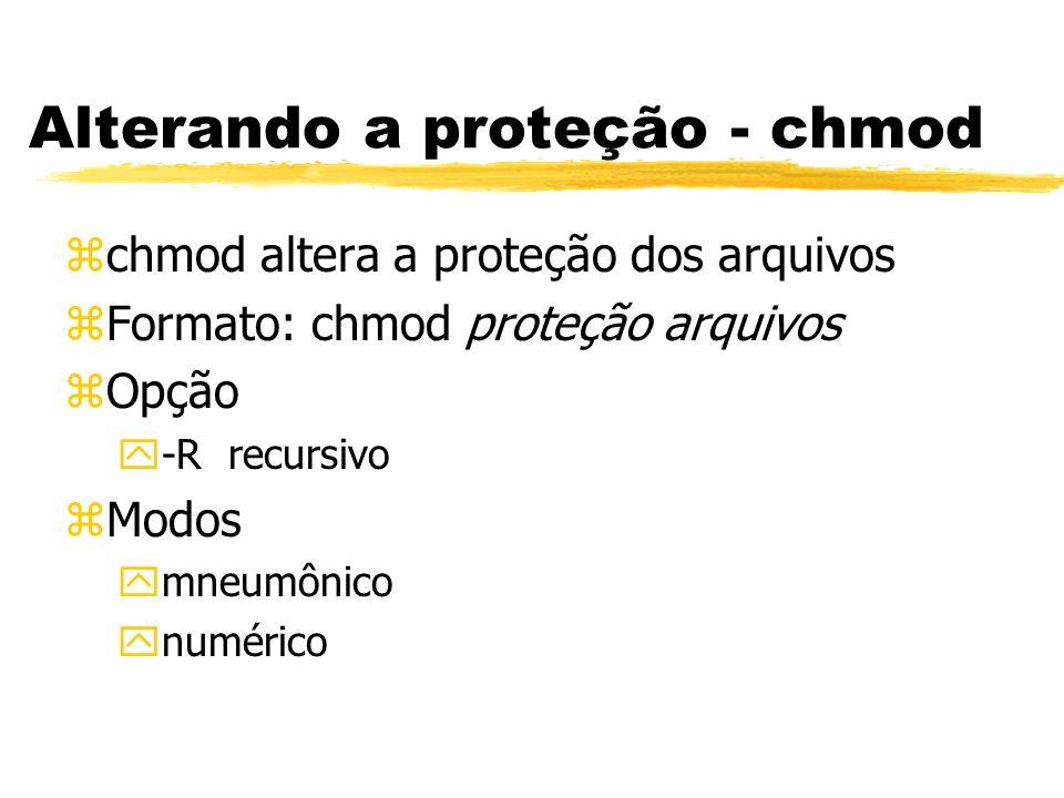 Alterando a proteção - chmod zchmod altera a proteção dos arquivos zFormato: chmod proteção arquivos zOpção y-R recursivo zModos ymneumônico ynumérico